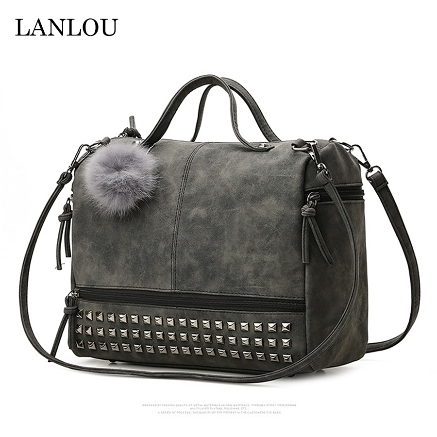 LAN LOU Women Bag  Shoulder Bag For Women 2019 High Quality Fashion Leather Big Bags Rivet Handbag Ladies Casual Crossbody Bags