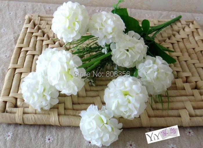 """가짜 수국 꽃 8 조각 35cm / 13.78 """"길이 (9 머리 / 조각) 인공 시뮬레이션 수국 꽃이 피는 무리"""