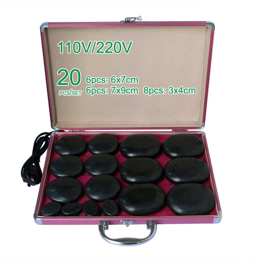 NEW wholesale & retail electrical heating 220V SPA hot energy stone 20pcs/set with heat box (model 6+6+8) retail new arrival100