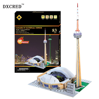 1 pcs Educational toy Canada National Tower 3D paper DIY Stereo jigsaw puzzle assembling famous model building kits gift toy