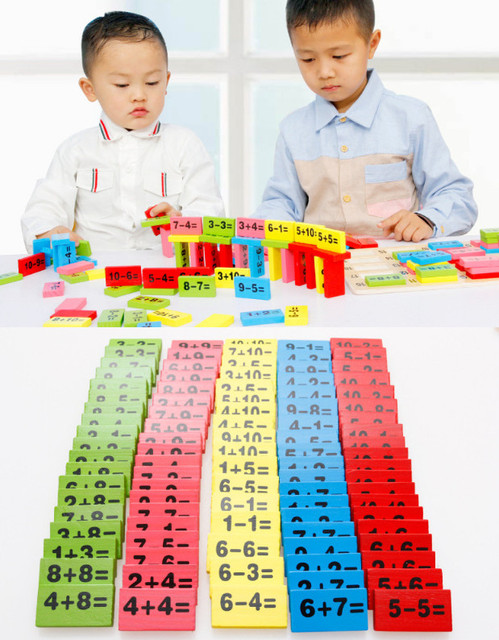 110pcs Lot Environmental Wooden Math Toys For Children Kid Bady Intelligence Educational Domino Montessori