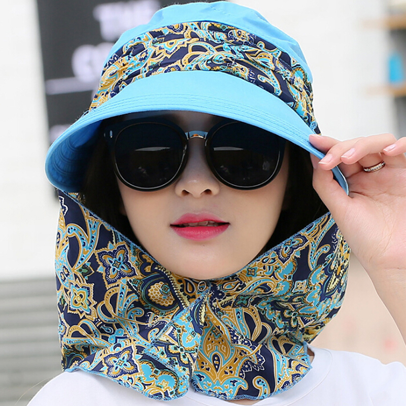 HTB1YBJwNmzqK1RjSZFpq6ykSXXaX - Fashion Women Summer Outdoor Riding Anti-UV Sun Hat Beach Foldable Sunscreen Floral Print Caps Neck Face Wide Brim Hat