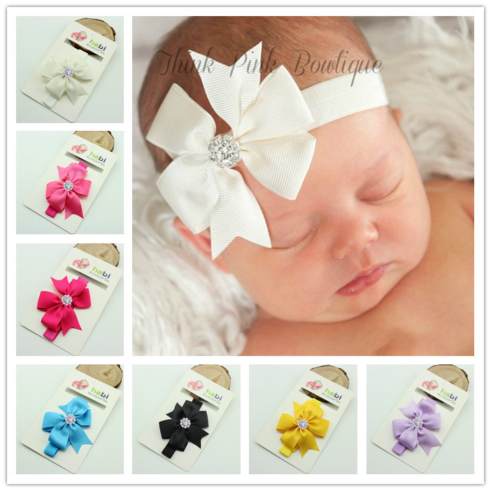 Baby Headband Ribbon bowknot DIY Infant Kids Hair Accessories Girl Newborn Bows crystal Turban Elastic Toddler Handmade 20pcs cute hair bows boutique alligator clip grosgrain ribbon for girl baby kids t026