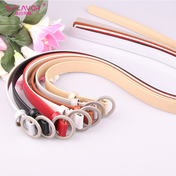 S.FLAVOR Women Gold Pin Buckle Solid PU Leather Strap Women Big Ring Decorated Belts Female Hot Newest Design Fashion Waist Belt