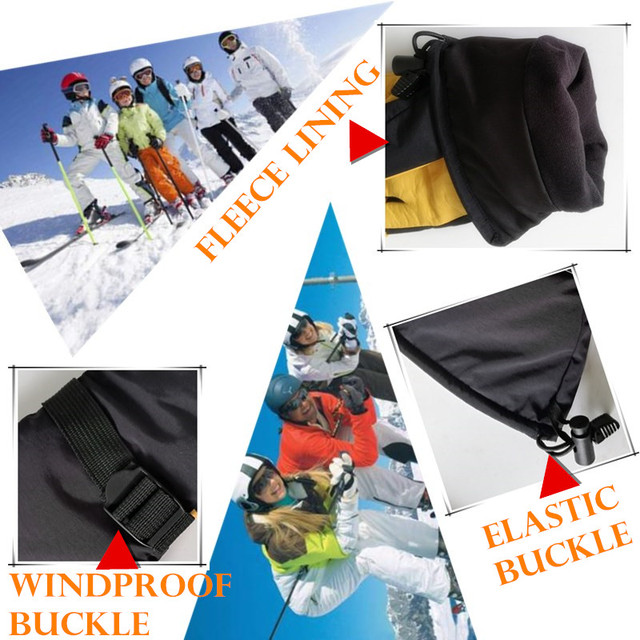 Adult Ski Gloves,Winter Thickened Fleece Warm Men&Women Windproof Gloves Cowhide leather Non-slip Palm Waterproof Elbow Mittens