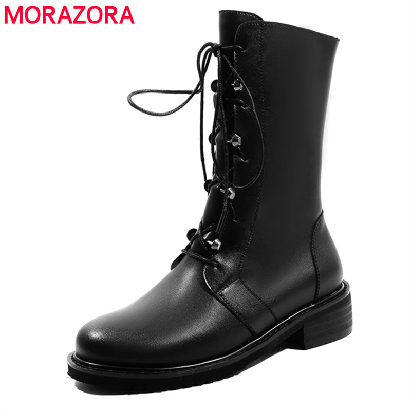 MORAZORA 2018 new arrive genuine leather ankle boots for women zip+lace up autumn boots fashion punk Martin boots ladies shoes morazora 2018 new arrival genuine leather ankle boots for women lace up zipper autumn boots fashion punk shoes woman black