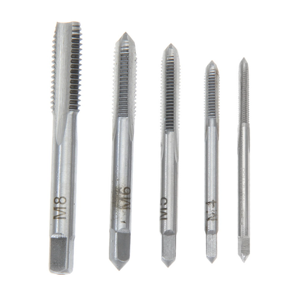 5PCS/Set HSS M3 M4 M5 M6 M8 Machine Spiral Point Straight Fluted Screw Thread Metric Plug Hand Tap Drill