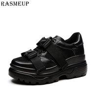RASMEUP Genuine Leather Mesh Women's Platform Chunky Sneakers 2018 Fashion Buckle Women Flat Thick Sole Shoes Woman Dad Footwear