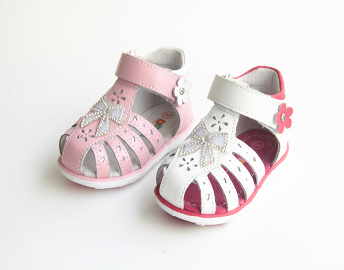 2018 NEW Kids/baby Summer Shoes Pink white girl Orthopedic Children Princess Sandals Kids Girls Genuine Leather Sandals shoes