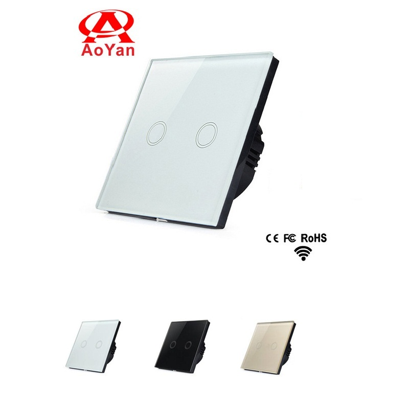 Aoyan EU Standard Touch Switch, 2 Gang 1 Way White Crystal Glass Panel,Smart Switch,110-250V Wall Light Remote Switch smart home us au wall touch switch white crystal glass panel 1 gang 1 way power light wall touch switch used for led waterproof