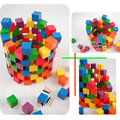 100 UNIDS/LOT.2cm cubo de madera, bloque de madera de Colores, cubo De Madera bloques de construcción, juguetes educativos Tempranos. regalo de cumpleaños. Freeshipping