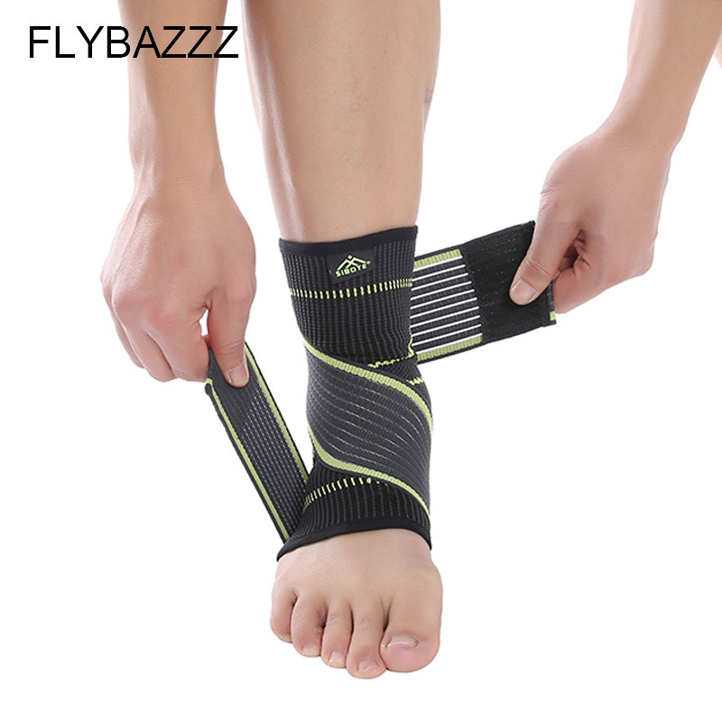 FLYBAZZZ 1PCS 3D Weaving Elastic Nylon Strap Ankle Support Brace Badminton Basketball Football Taekwondo Fitness Heel Protector