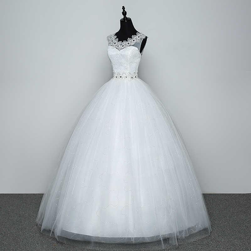 Foto reale Abito Da Sposa 2020 Vendita Calda Applicue Semplice Del Merletto A Buon Mercato Abito Da Sposa Con Perline Vestido De Noiva Importato-cina