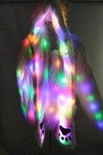 Мех пальто + шляпа Сценические костюмы женский костюм с подсветкой одежда куртка бар Танцы show куртка с искусственным мехом для ночного клуба Новогодние товары Show