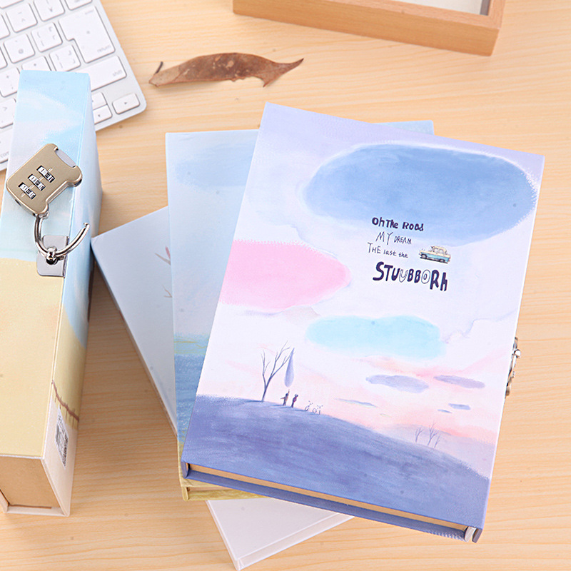 Coloffice Cute Creative Diary Notebook with Lock in Gift Box Personal Journal Thick Notepad Note Book Office School Notebooks death note book hot fashion anime theme death note cosplay notebook new school large writing journal 20 5cm 14 5cm