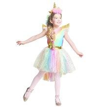 Платье для девочек с радужным единоровечерние повязкой на голову, костюм для Хэллоуина и Рождества, детский костюм 2018, летнее вечерние платье