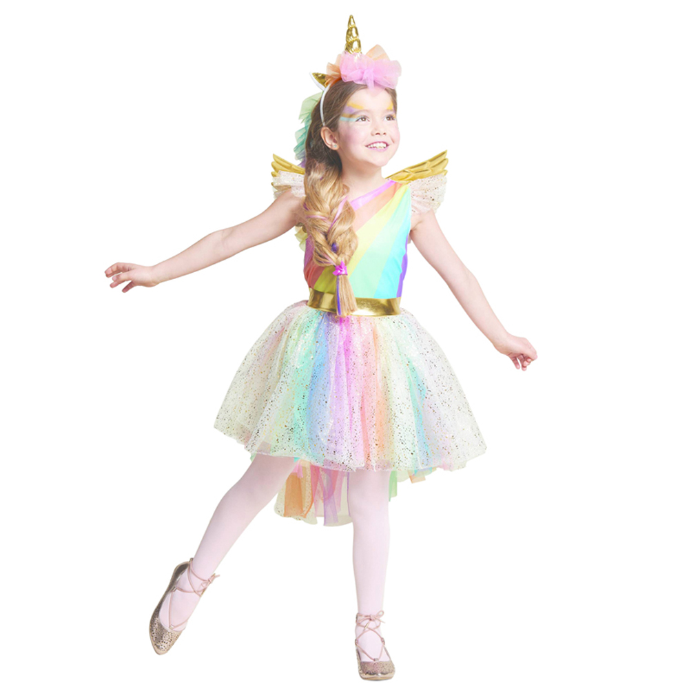 Mädchen Kleid Regenbogen Einhorn Party Mit Stirnband Halloween Weihnachten Cosplay Kostüm Kinder 2018 Sommer Kleid Party Kleid