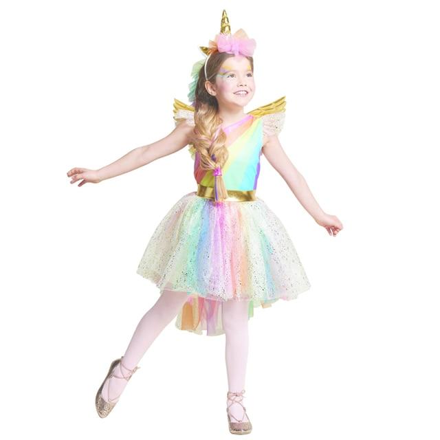Vestido de niñas Arco Iris unicornio fiesta con diadema Halloween Navidad Cosplay disfraz niños 2018 vestido de fiesta de verano