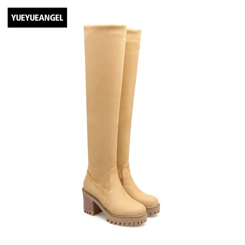 2017 New Autumn Winter Fashion Over Knee Boots Womens Shoes Faux Suede Thigh High Boots Vogue Sexy Party Sapatos Mulher Plus SZ womens high boots vogue side zipper botas invierno mujer fashion buckle block chunky heel sapatos mulher suede size us 4 10 5