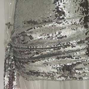 Image 5 - Женское мини платье с блестками JillPeri, блестящее короткое Клубное платье с квадратным вырезом, вечерние наряды на каждый день
