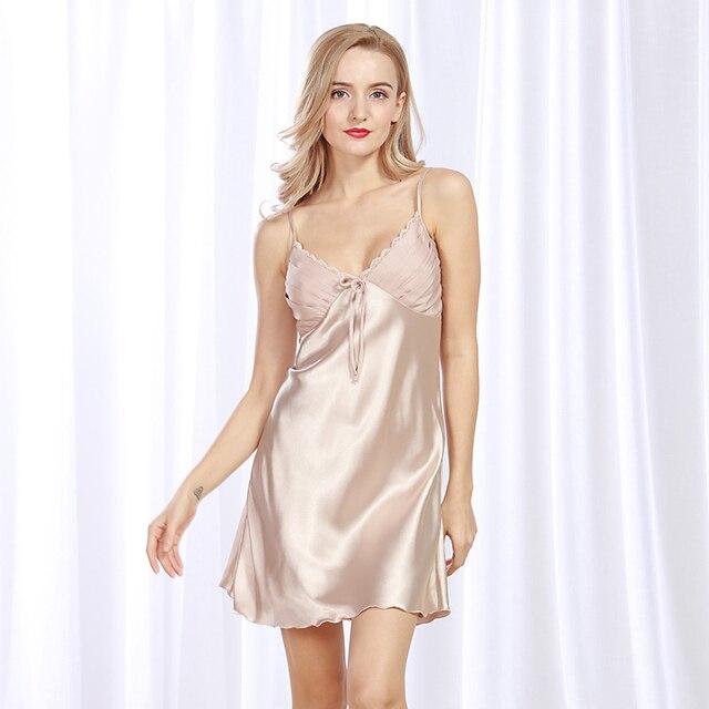 e1b042b4a243e64 Сна платье пикантные атласные пижамы шелковой ночной рубашке Для женщин  рубашки белье Женская ночнушка Промахи кружева