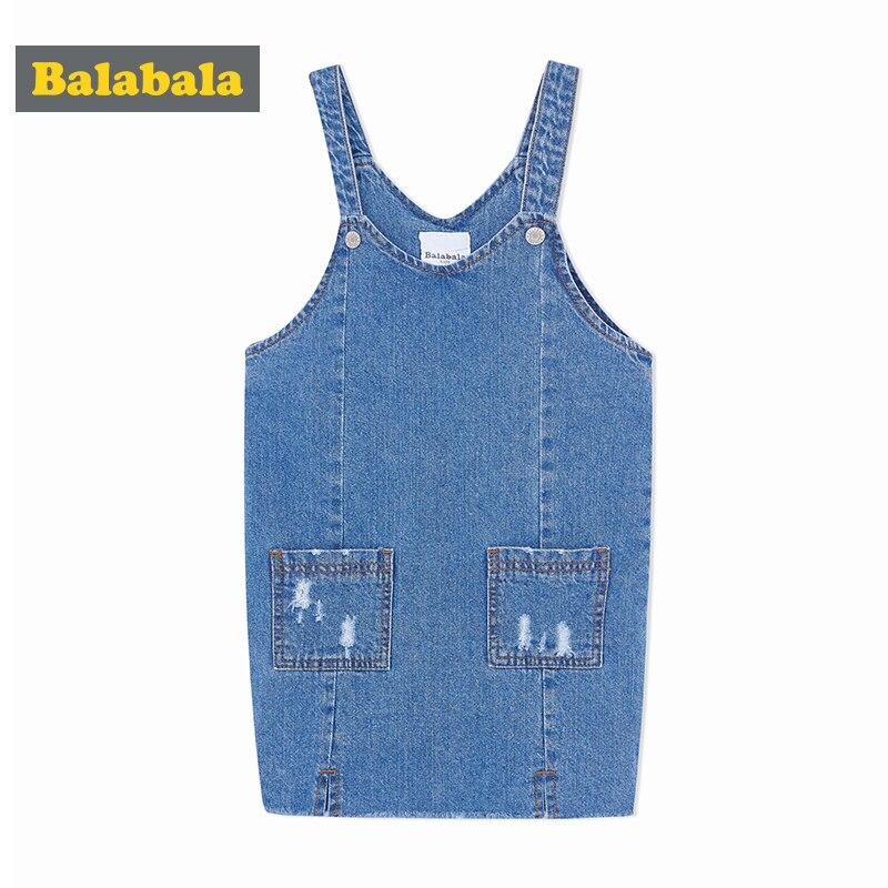 Balabala new spring denim dress 2018 girl clothes girls fashion child sweet pettico girls Princess Dress children teenager платье mini balabala 52262140621