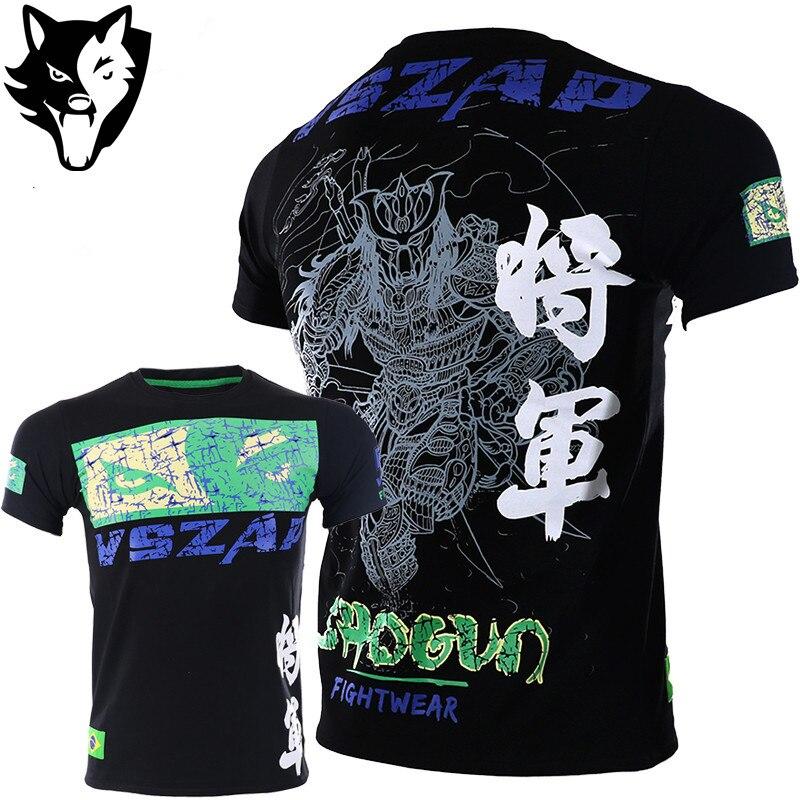 2915d86c VSZAP Boxing MMA T Shirt Gym Tee Shirt Fighting Martial Arts Fitness  Training Muay Thai Shirts sauna suit Brazilian Jiu Jitsu