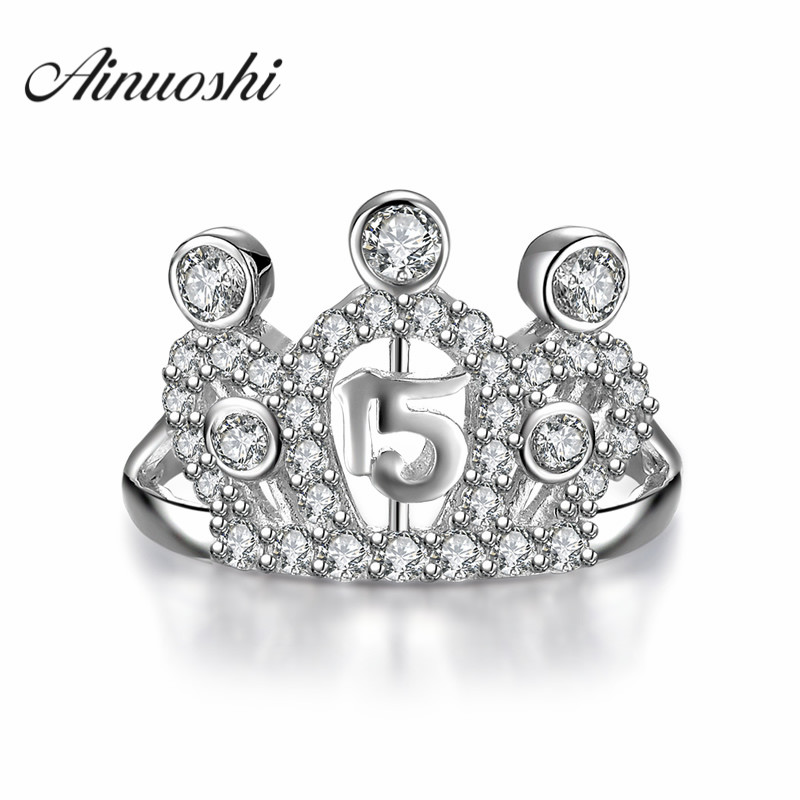 AINUOSHI Elegant Luxury Queen Crown Sona 925 Sterling Silver Rings Jewelry Women Wild Engagement Party Rings Worldwide Sale