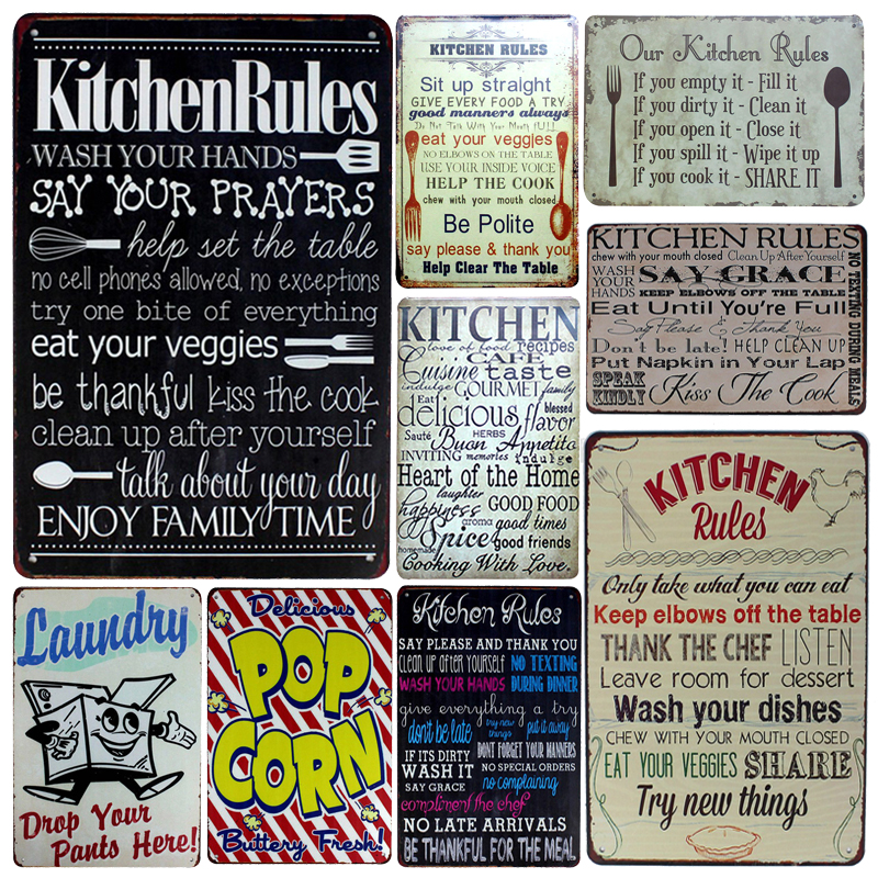 [inFour+]Kitchen Rules Metal Signs Family Rule Home Decor Vintage Tin Signs Pub Vintage Decorative Plates Metal Wall Art Plaques