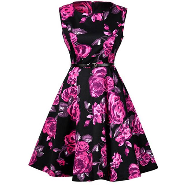 SHIBEVER Women Dresses Printing Sleeveless Summer Dress Fashion Casual O-neck  Women Ball Gown office Dress for women 2017 LD08