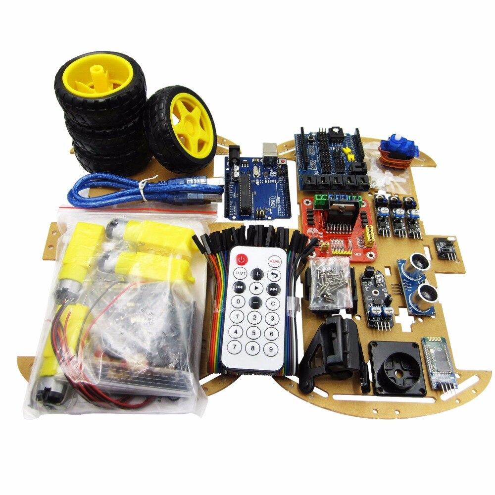 Обновленная версия 4WD робот car/UNO проекта умный робот Car Kit с UNO R3/ультразвуковой/Bluetooth/ удаленный развивающие игрушки