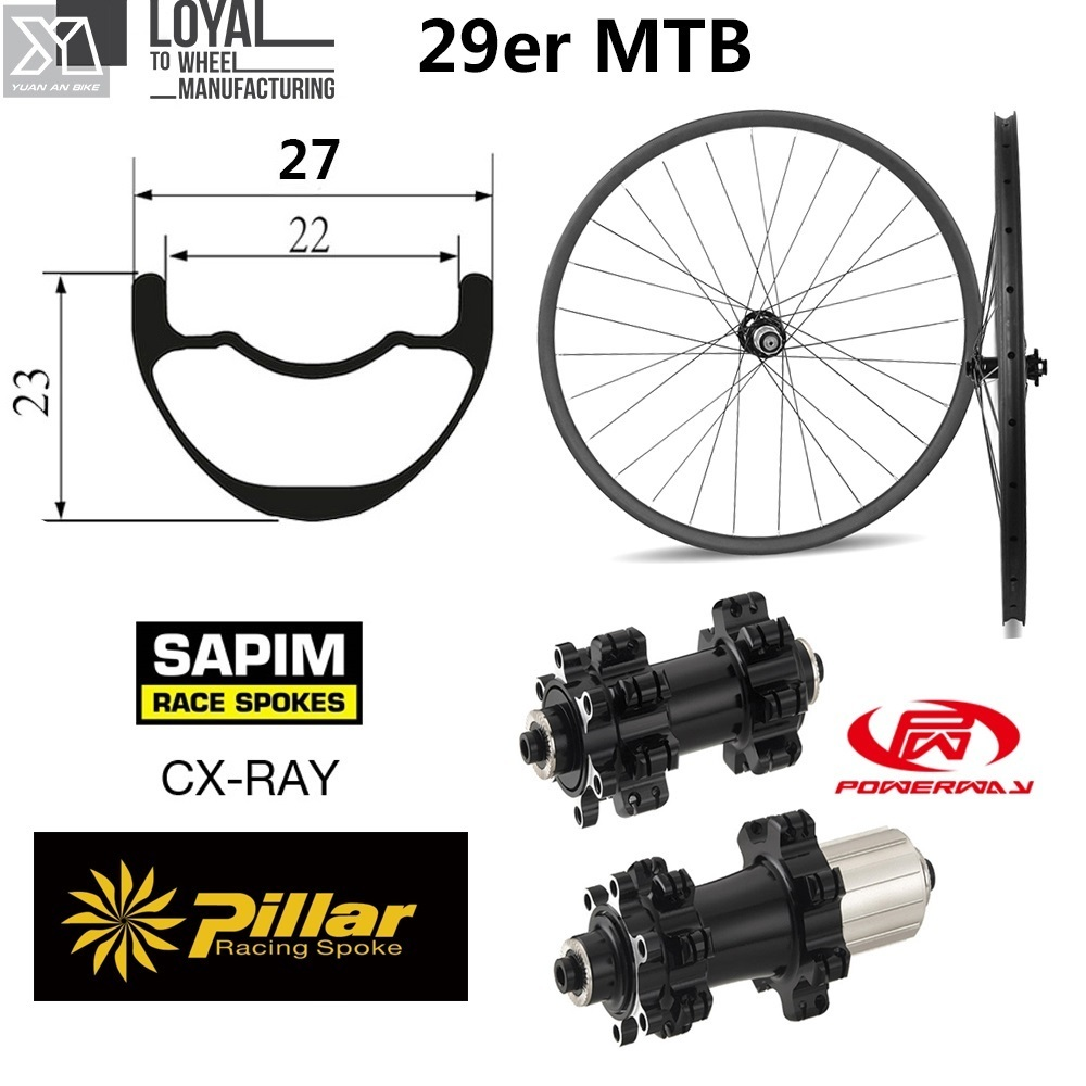Toray Carbon fiber 29er MTB wheels for XC AM 27mm Width 23mm depth Mountain bicycle wheelset with Powerway M42 Straight Pull Hub oem mtb wheelset 29er mtb wheelset mountain bike 27mm width carbon wheel hookless mtb wheels with novatec hub