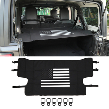 for Jeep Wrangler JL 2018 2019 4 Door Car Luggage Carrier Trunk Curtain Cover+6 Pull Buckles Car Interior Accessories Black 7pcs