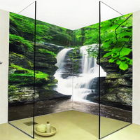 Custom Mural Wallpaper 3D Waterfalls Green Forest Bathroom Wall Sticker PVC Self Adhesive Waterproof Wall Papers For Walls 3 D