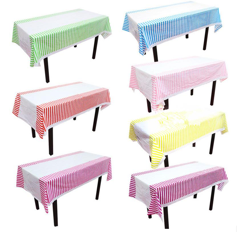 Colorful Stripe Plastic Table Cloth Kids Birthday Party Decoration Baby Shower Supplies  ...