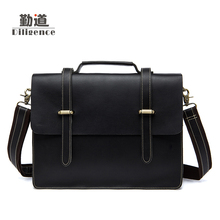 Men's Genuine Cowhide Leather Business Handbags Vintage Fashion Laptop Bags Famous Brand Designer Style Crossbody Bags