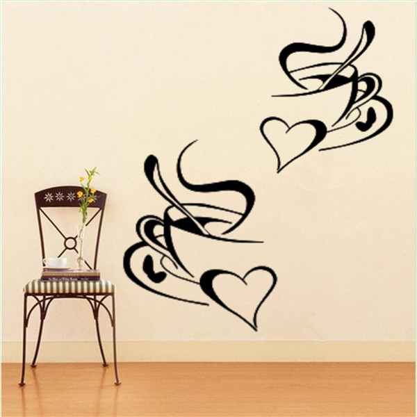 1PC 2 Coffee Cups Sticker Decal Heart Cafe Restaurant Wall Window Mural  Decor
