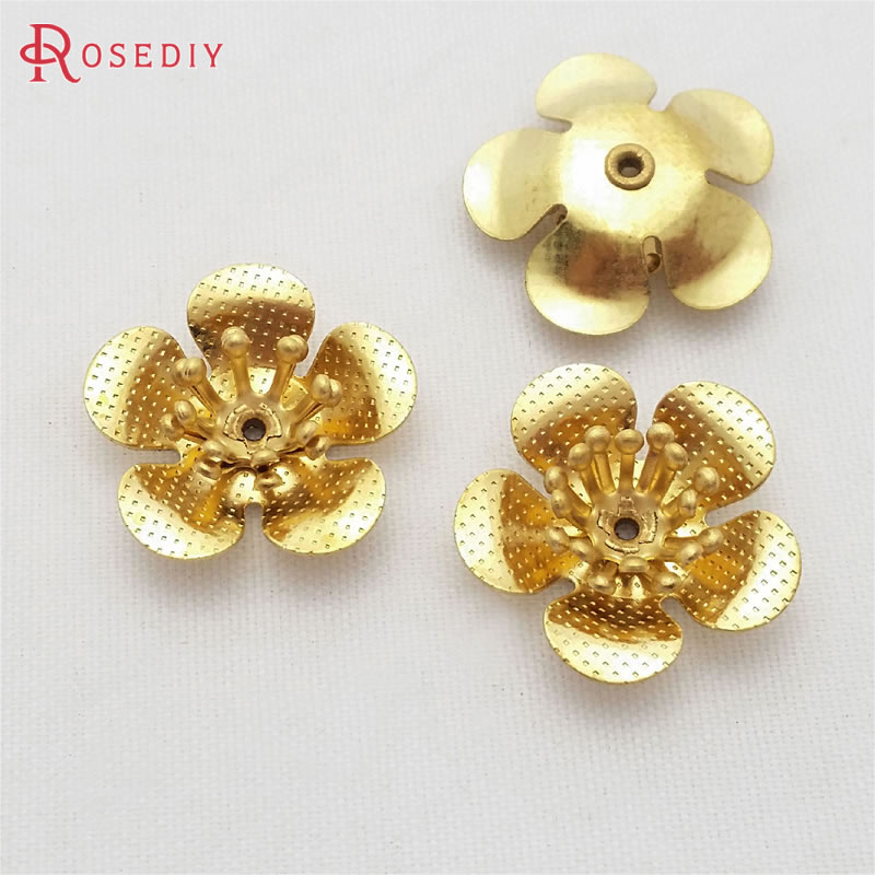 (29475)20PCS 18MM,height 5MM Not Plated Color Brass 3D Plum Flower Diy Jewelry Findings Accessories Wholesale