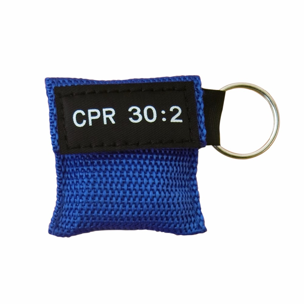 100 PCS /LOT CPR MASK WITH KEYCHAIN CPR FACE SHIELD AED CPR KEY BLUE WRITING CPR 30:2