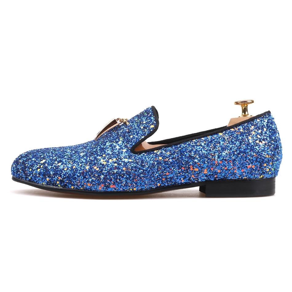 Zapatos azul Nueva De Cuero Mano Metal Hechos 2018 Partido Cielo Azul Colores Mocasines Piergitar Y Hombres A Azul Con Oro Borlas RwnUx5Tnqa