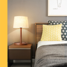 цены Nordic simple table lamp modern solid wood fabric led decorative art bedroom bedside lamp