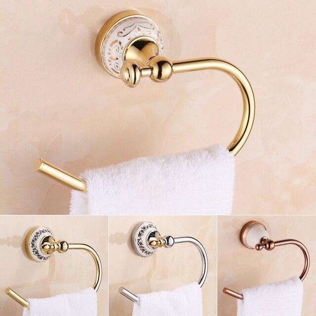 Free Shipping Goldenrose Goldenchrome Bathroom Towel Ring Half