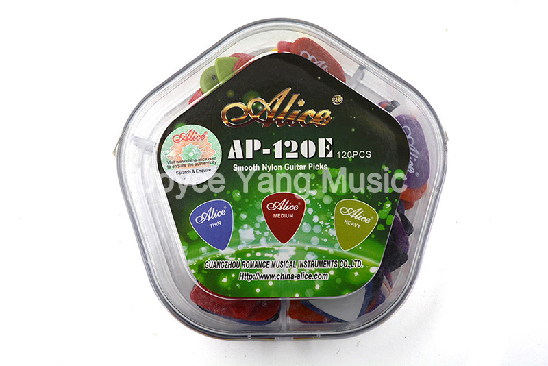 Alice AP-120E Smooth Nylon Guitar Picks Plectrums Thin/Medium/Heavy With Pentagon Plastic Box Case Free Shipping Wholesales