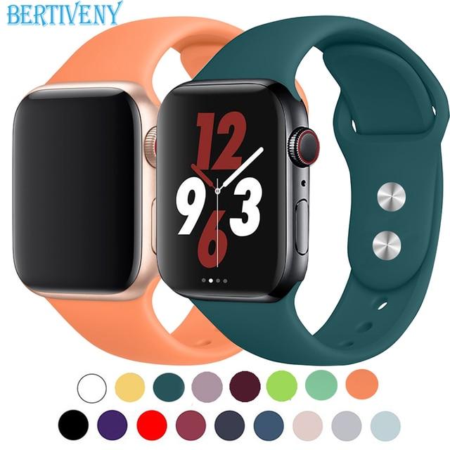 Силиконовый ремешок для Apple Watch 38 мм 42 мм 40 мм 44 мм замена ремешок для спортивных часов резиновый браслет для iwatch серии 4 3 2 1 ремешок для часов