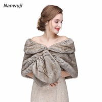 2017 Grey Wedding Jacket Wrap Shawl Cloak Cape Jacket Bridal Bolero Winter Wraps Coat Stole Faux