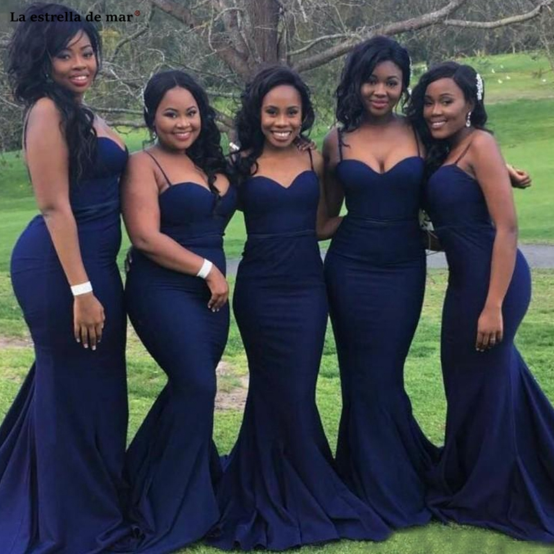 Wedding Party Dress New Satin Spaghetti Straps Halter Navy Blue African Bridesmaid Dress Trailing Vestidos De Madrinha