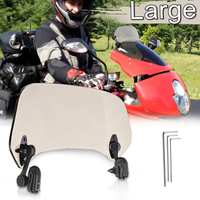 Big Windscreen Deflector Universal Adjustable Clip On Brown Windshield Extension Spoiler Wind For Motorcycle Scooter