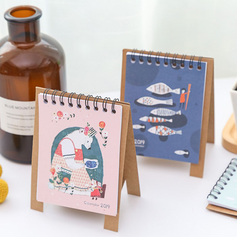 Calendars, Planners & Cards Office & School Supplies 2019 New Cute Cartoon Calendar Creative Desk Vertical Paper Multi-function Storage Box Timetable Plan Notebook
