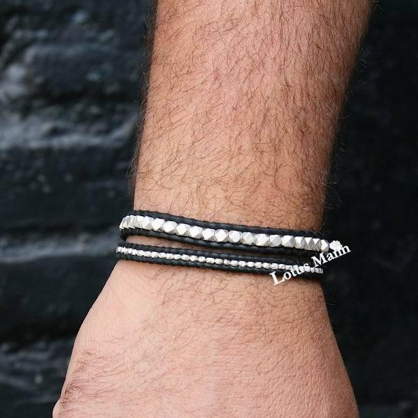 Lotus mann Silver Nugget Single Wrap Bracelet on Black Leather