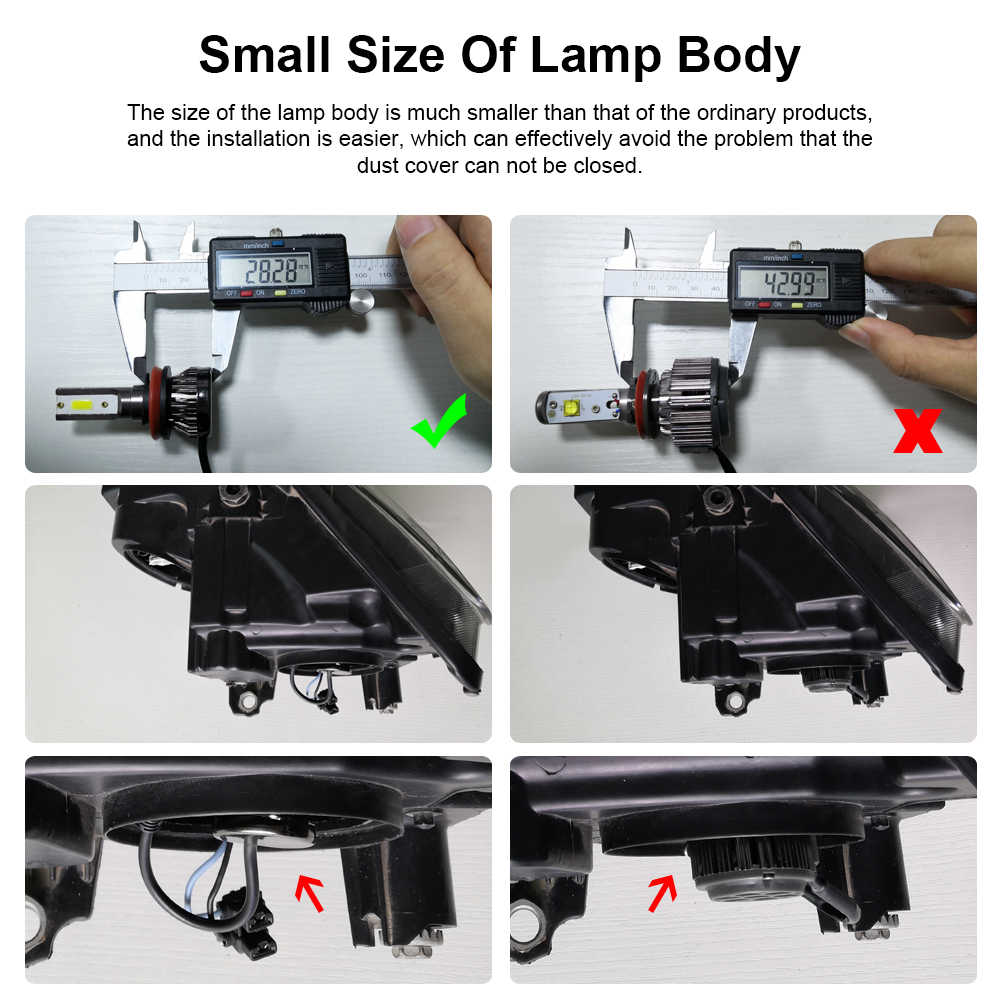 PANDUK 2019 Led Headlight 12V 24V H1 H4 H7 Car Light 9005 9006 Led  H3 H11 9012 led bulb  6000K 36W Mini Car Accessories 2Pcs